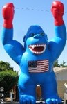 giant balloon rental - blue color gorilla inflatable with USA flag